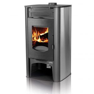 Kamin TIM SISTEM NIKA INOX Моќ: 9 kW Погоден за простории до50 m2 Големина ( a x b x h /cm) : 102 x 56 x 55 /cm Тежина : 113 кг