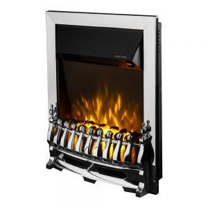 Elektricen Kamin ART FLAME GALILEO CHROME Внатрешноста е имитација на пламен со дрва Моќ: 850/1500 W Димензии (Ш x В x Д) : 430 x 580 x 150 mm Тежина: 9,9 кг