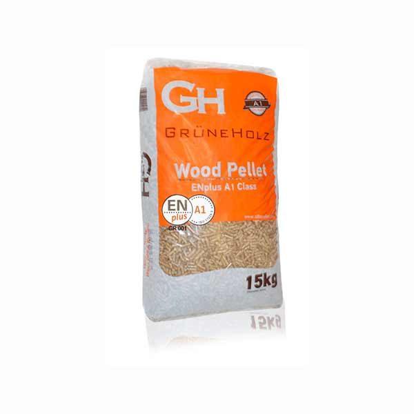 Пелети GruneHolz 15kg - А1 класа - ЕН плус - сертификат за квалитет - Висока калорична моќ - Минимален остаток на пепел